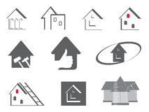 House and repair symbols. House and repair. Abstract element set of logo templates Stock Image