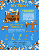 House repair tool and carpentry equipment poster Stock Photo