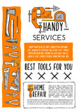House repair tool and carpentry equipment poster Royalty Free Stock Image