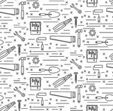 House repair tools line icons seamless vector pattern Royalty Free Stock Photography