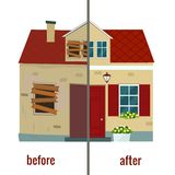 House before and after repair vector illustration. Flat design vector illustration