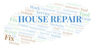 House Repair word cloud. Wordcloud made with text only stock illustration