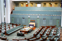 House of representatives. CANBERRA - NOV 08: Inside parliament house, the house of representatives where both sides of the federal government debate future Royalty Free Stock Images