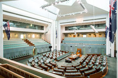 The House of Representatives. CANBERRA, AUSTRALIA - MAR 25, 2016: Interior view of  the House of Representatives in Parliament House, Canberra, Australia Royalty Free Stock Photos