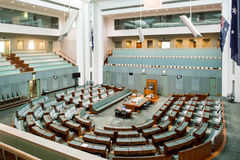 The House of Representatives. CANBERRA, AUSTRALIA - MAR 25, 2016: Interior view of  the House of Representatives in Parliament House, Canberra, Australia Stock Image