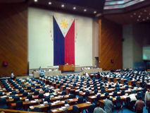 The House of Representatives. Or Congress of the Philippines in 1st session for the 2015 budget hearing. Photo taken in Sept., 2014. Some congressmen went to Stock Photo