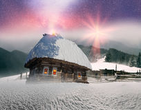 House of rescuers under Hoverla Royalty Free Stock Image