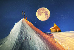 House of rescuers under Hoverla Royalty Free Stock Photography