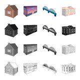 House, residential, building, and other web icon in cartoon style. Administrative, museums, theater, icons in set Royalty Free Stock Photography