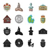 House, residential, style, and other web icon in black,cartoon style. Country, Denmark, sea, icons in set collection. House, residential, style, and other  icon Royalty Free Stock Photo