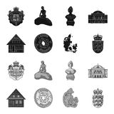 House, residential, style, and other web icon in black,monochrome style. Country, Denmark, sea, icons in set collection. House, residential, style, and other Stock Photos