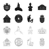 House, residential, style, and other web icon in black,outline style. Country, Denmark, sea, icons in set collection. House, residential, style, and other  icon Stock Image