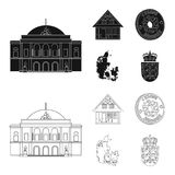 House, residential, style, and other web icon in black,outline style. Country, Denmark, sea, icons in set collection. House, residential, style, and other  icon Royalty Free Stock Photography