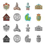 House, residential, style, and other web icon in cartoon,monochrome style. Country, Denmark, sea, icons in set. House, residential, style, and other  icon in Royalty Free Stock Photos