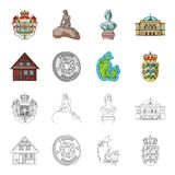 House, residential, style, and other web icon in cartoon,outline style. Country, Denmark, sea, icons in set collection. House, residential, style, and other Stock Photography