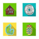 House, residential, style, and other web icon in flat style. Country, Denmark, sea, icons in set collection. House, residential, style, and other  icon in flat Royalty Free Stock Photos