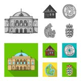 House, residential, style, and other web icon in monochrome,flat style. Country, Denmark, sea, icons in set collection. House, residential, style, and other Stock Photos