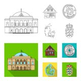 House, residential, style, and other web icon in outline,flat style. Country, Denmark, sea, icons in set collection. House, residential, style, and other  icon Stock Images