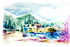 House resort by the lake in mountain illustration. Vacation house or holiday resort by the lake in the mountain water color illustration Stock Photos