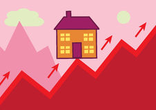 House Rising. A house perched on the peak of a rising graph, in the shape of a mountain. A metaphor of rising house values and cost Royalty Free Stock Image