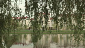 House on the river beach. Autumn daytime. Smooth dolly shot stock footage