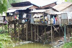 House by River in Cambodia Royalty Free Stock Images