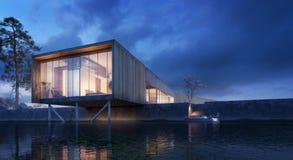 House on the river - Modern exterior design. 3D Rendering royalty free illustration