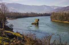 House on the river. House on a rock in the middle of the river Drina in Serbia stock images
