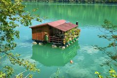 House On River, Serbia. Wooden house on river, Serbia royalty free stock photography