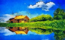House riverside brushes sky cloud Royalty Free Stock Photography