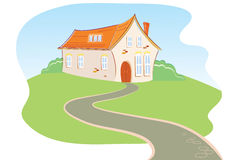 House and road. Vector big  house with long road.Summer landscape Stock Photography