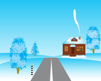 House beside roads in winter Royalty Free Stock Photo