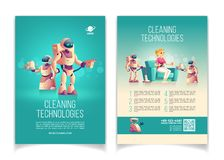 House robots technologies cartoon vector ad flyer stock illustration