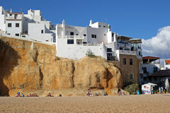 House in the rock, Algarve coast, Albufeira, Portugal Royalty Free Stock Images