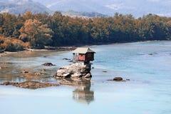 House on rock Drina river landscape royalty free stock photo