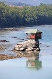 House on rock Drina river. Serbia royalty free stock photo