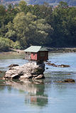 House on rock Drina river. Serbia royalty free stock photography
