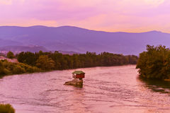 House on rock island in river Drina - Serbia Royalty Free Stock Photo