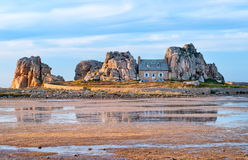 The house between the rocks, Brittany, France Royalty Free Stock Image