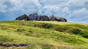 House between the rocks in Meneham village, Kerlouan, Finistere,. Brittany (Bretagne), France Royalty Free Stock Photos