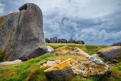 House between the rocks in Meneham village, Kerlouan, Finistere, Brittany (Bretagne), France royalty free stock images