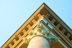 House with Roman column. Detail over blue sky view Stock Photography