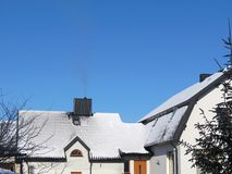 House roof. With snow in winter Stock Photography