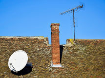 House roof with antennas Royalty Free Stock Photos
