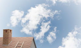 House roof as concept of suburbian real estate and construction. Mixed media Stock Image