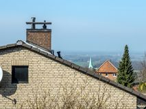 House Roof with Chimney Royalty Free Stock Photography