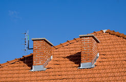 House roof with chimneys Royalty Free Stock Photography