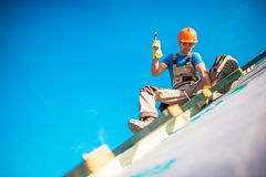 House Roof Construction Works royalty free stock photography