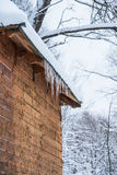 House roof icicles Royalty Free Stock Image