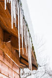 House roof icicles Royalty Free Stock Photos